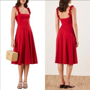 NWT Reformation Red Ruffle Dress - Size L